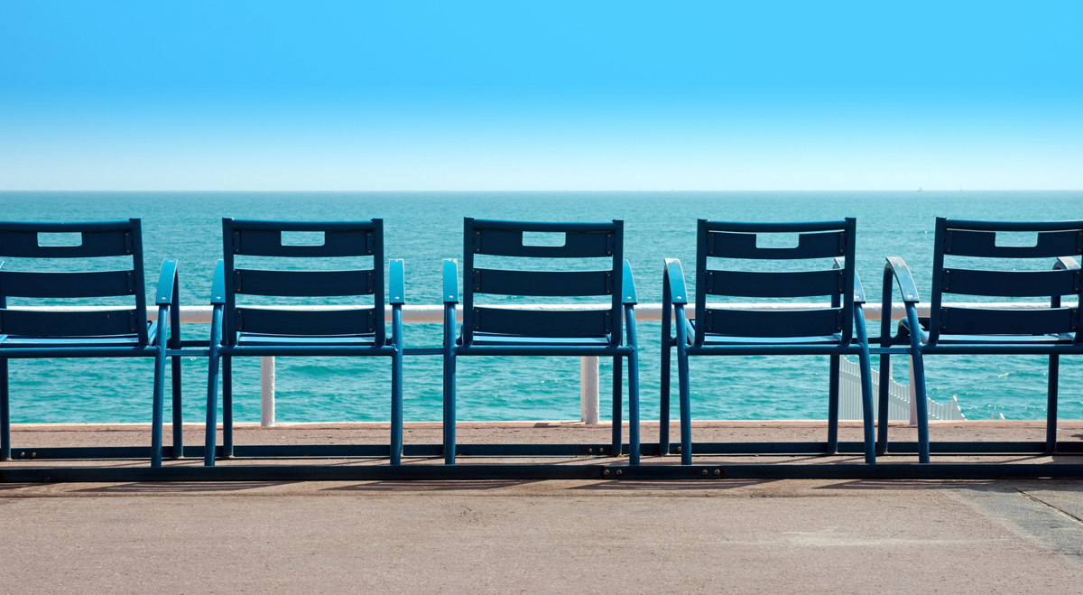 Chairs in front of the sea